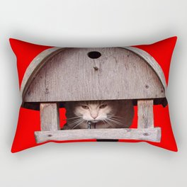 Cat hides in a birdhouse - red Rectangular Pillow