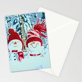 Snowman walk Stationery Cards