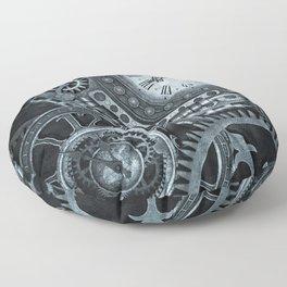 Silver Steampunk Clockwork Floor Pillow