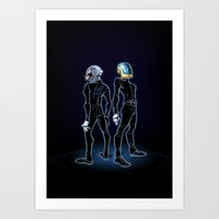 daft punk Art Prints featuring Daft Punk by Adrien ADN Noterdaem