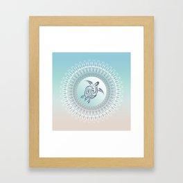 Beach Gradient Turtle Mandala Framed Art Print