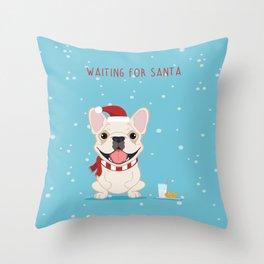 French Bulldog Waiting for Santa - Cream Edition Throw Pillow