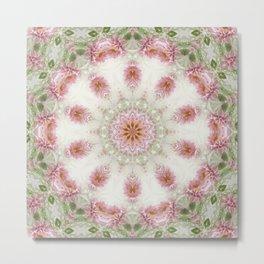 Pink Chrysanthemums Kaleidoscope Art 6 Metal Print