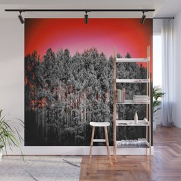 Gray Trees Candy Apple red Sky Wall Mural