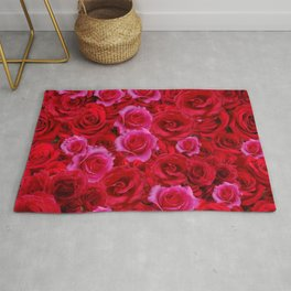 NATURE ART OF BED OF RED & PINK ROSE FLOWERS Rug