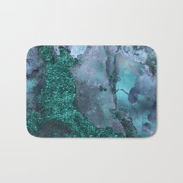 Malachite Glitter Stone and Ink Abstract Gem Glamour Marble Bath Mat
