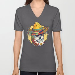 Masked Mexican Taco Funny Unisex V-Neck