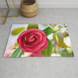 Red Camellia Macro Rug