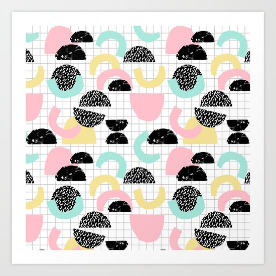 Pretty Much - abstract minimal memphis 80s style retro throwback grid pattern design Art Print