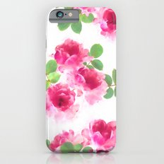 Raspberry Pink Painted Roses on White iPhone 6s Slim Case