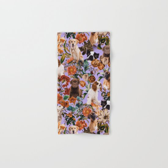Dog and Floral Pattern Hand & Bath Towel