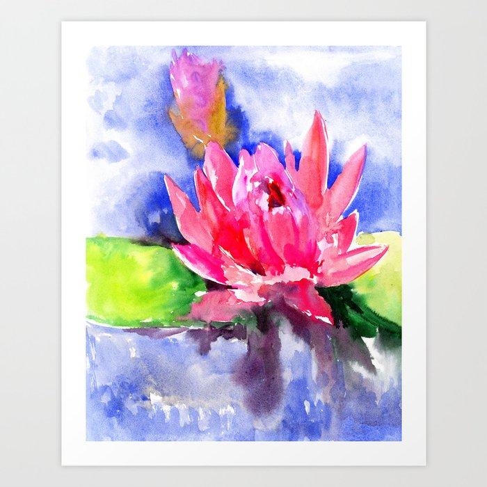 Lotus Flower Pink Lotus Asian Ink Art Pink Blue Lily Pod