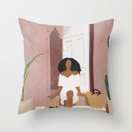 Woman sitting on the porch Throw Pillow