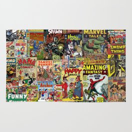 Comic Book Cover Collage Rug