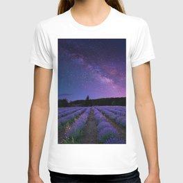 Milky Way over Lavender Fields Photographic Landscape T-shirt