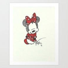Minnie Mouse Zen Tangle Art Print
