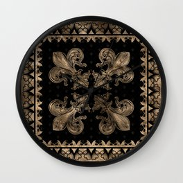 Fleur-de-lis - Black and Gold #2 Wall Clock