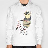 bike Hoodies featuring Deer on Bike.  by Ashley Percival illustration