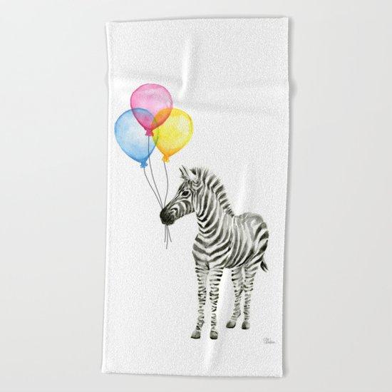 Zebra with Balloons Watercolor Baby Animals Beach Towel