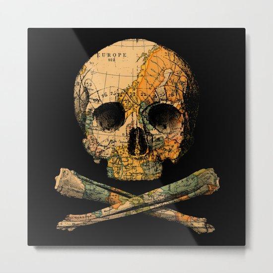 Treasure Map Skull Wanderlust Europe Metal Print