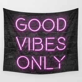 Neon Good Vibes - Pink Wall Tapestry