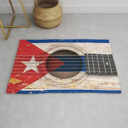 Old Vintage Acoustic Guitar with Cuban Flag Rug