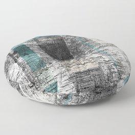 Simple Birch Bark Plaid Pattern Teal Grey White Cream Floor Pillow