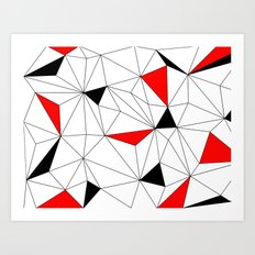 Geo - red, black and white Art Print