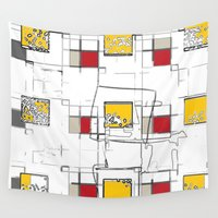 sketch Wall Tapestries featuring SKETCH SQUARES by  ECOLARTE