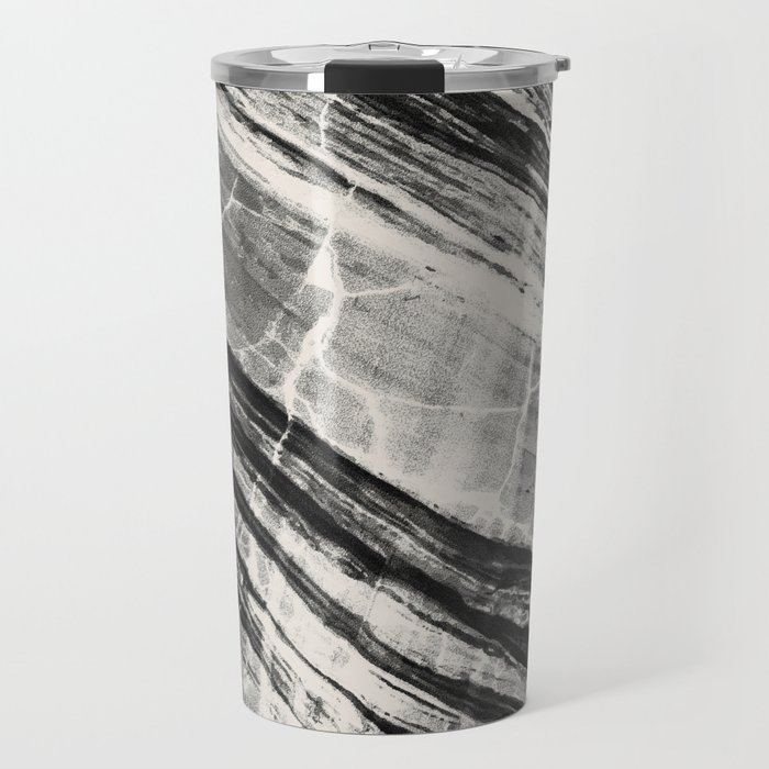 Abstract Marble - Black & Cream Travel Mug