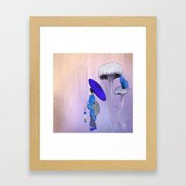 Geisha Walking with a parasol Framed Art Print