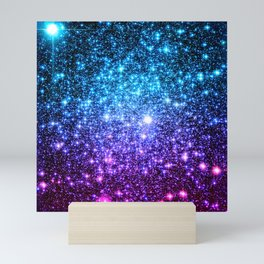 Glitter Galaxy Stars : Turquoise Blue Purple Hot Pink Ombre Mini Art Print