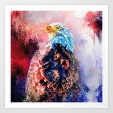 Jazzy Bald Eagle Colorful Bird Art by Jai Johnson Art Print