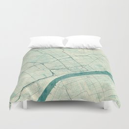Detroit Map Blue Vintage Duvet Cover