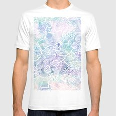Modern purple lavender turquoise watercolor floral lace hand drawn illustration Mens Fitted Tee White MEDIUM
