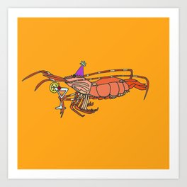 Spot Prawn drinking Sex on the Beach Art Print