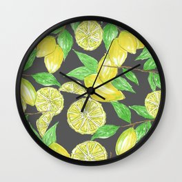 Watercolor Lemon Twig Allover Print Design Wall Clock