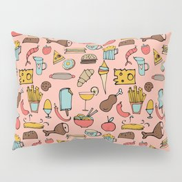 Food Frenzy pink Pillow Sham