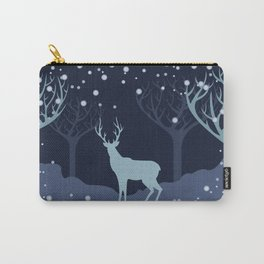 Deer in snowy forest Carry-All Pouch