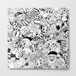 Christmas Doodles Funny and Cute Black and White Characters Metal Print