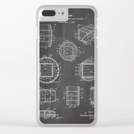 Whisky Barrel Patent - Whisky Art - Black Chalkboard Clear iPhone Case