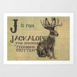 Alphabestiary J - Jackalope Art Print