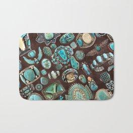 Vintage Navajo Turquoise stones Bath Mat
