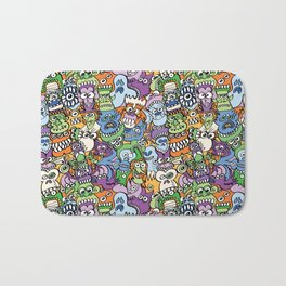 Halloween stars get crazy and hungry in a spooky pattern design Bath Mat