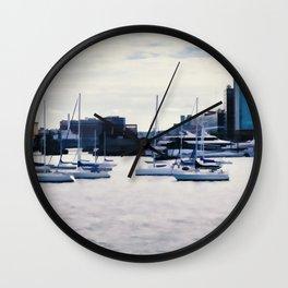 Boats in Boston Harbor Wall Clock