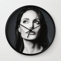 angelina jolie Wall Clocks featuring Angelina Jolie by Liliana Corradini