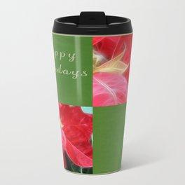 Mottled Red Poinsettia 2 Happy Holidays Q5F1 Travel Mug