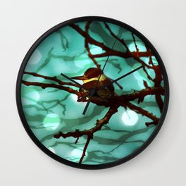 African Bird and Branches Aqua Wall Clock