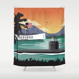 Pearl Harbor, HI - Retro Submarine Travel Poster Shower Curtain
