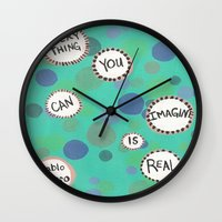 pablo picasso Wall Clocks featuring Pablo Picasso Bubbles by Jenna Elise